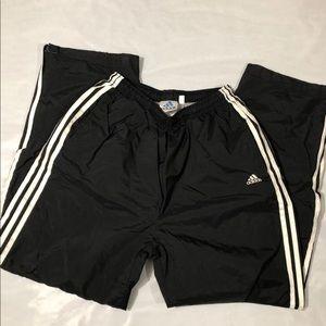 Vintage Fleece Adidas Track Pants Large B&W